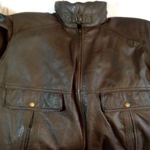 Oakton VTG Brown Leather Bomber Aviation Jacket